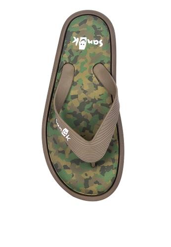 Sanuk brown Sidewalker Flip Flops 7A615SH6562E55GS_1