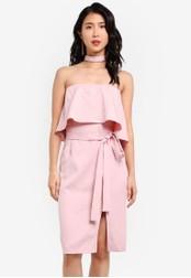 ZALORA pink Tube Midi Dress With Choker 325AEAA11E4713GS_1
