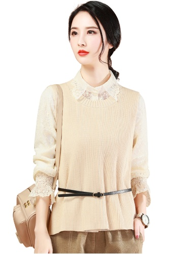 A-IN GIRLS beige (2PCS) Lace Blouse + Knitted Vest Set (including Belt) 45EACAA78CD92EGS_1