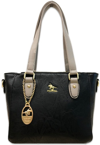 Polo Hill black Polo Hill Contrasted Strap Tote Bag Black 0033CAC6D86FC1GS_1