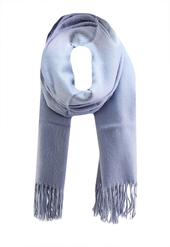GLOBAL WORK blue Classic Fringed Scarf A68F4ACE2C0E59GS_1