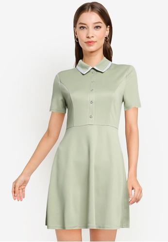 ZALORA WORK green Contrast Trim Mini Dress 67A08AAC5BC49DGS_1