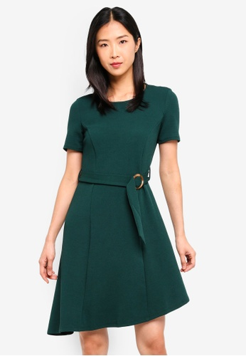 Dorothy Perkins 綠色 Forest Green Horn Button Fit & Flare Dress 95ED6AA70E4055GS_1