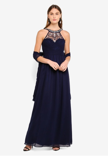 Goddiva navy Embellished Chiffon Maxi Dress With Scarf 47386AA1A5036DGS_1