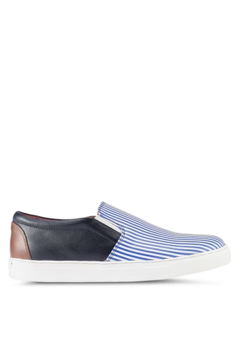 Acuto blue Leather Slip On Sneakers AC283SH0SL7XMY_1