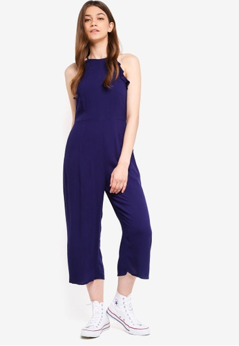 Something Borrowed navy Ruffles Detailed Cut-In Jumpsuit 01158AA39F951AGS_1