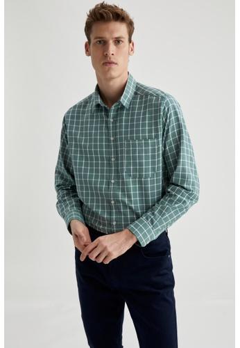 DeFacto green Man Woven Long Sleeve Shirt 3AC90AA712EB0EGS_1