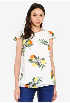 2632617e3eb9 Dorothy Perkins white Billie & Blossom Lemon Short Sleeve Chiffon Shell Top  CC2A4AA661D68DGS_1