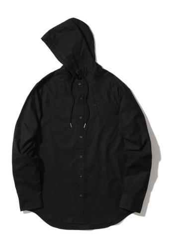 MUSIUM DIV black Drawstring button down hooded shirt 86C6DAA522949CGS_1