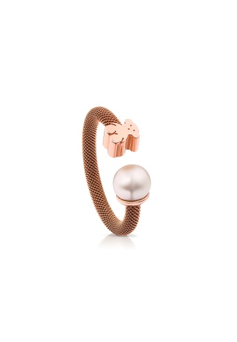 Tous white and gold TOUS Steel and Rose Vermeil Silver Icon Mesh Ring with Pearl 6F4A0ACC5E8F20GS_1