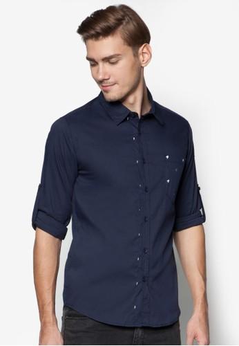 Houndstooth Pocket Shirt With Rolledzalora 台灣-up Sleeve, 服飾, 印花襯衫