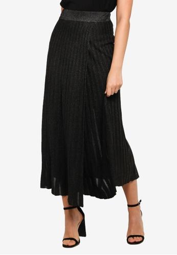 FORCAST black Kenia Pleated Knit Skirt 91DADAAC65E34AGS_1