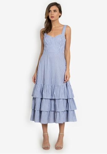 NOBASIC navy Stripe Ruffled Dress 0BF30AAA94B9A8GS_1