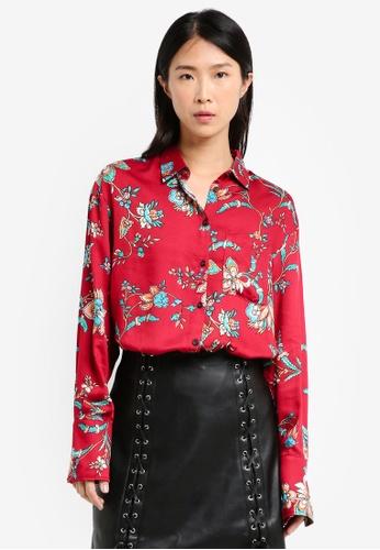 Mango red Floral Print Shirt DE566AA555BA24GS_1