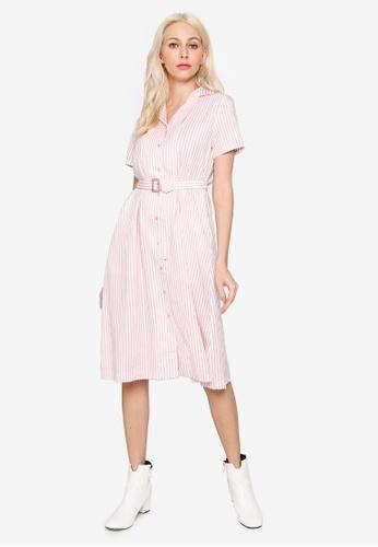 Hopeshow pink Striped Button Midi Dress with Belt 58C9BAAA2AEA74GS_1
