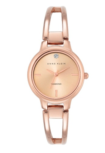 Anne Klein gold Anne Klein Women's AK-2626RGRG Diamond-Accented Dial Rose Gold-Tone Bangle Watch 58643AC563F0BEGS_1