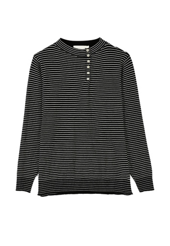Its Me black Simple Half High Neck Striped Sweater 064DBAA16285C2GS_1