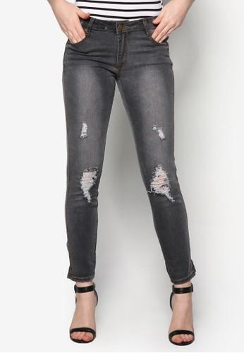 刷破窄管牛zalora 包包評價仔褲, 服飾, 緊身牛仔褲