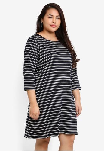 Only CARMAKOMA navy Plus Size Jennifer 3/4 Mini Dress 19BE0AAB633713GS_1