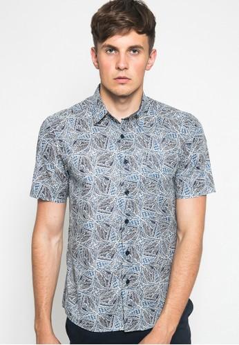 YEGE blue YEGE Short Sleeve Print Shirt 7073 D43B3AAEDB743AGS_1