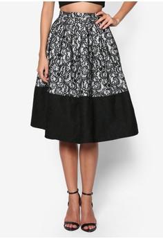 Premium Zigzag Lace Midi Skirt