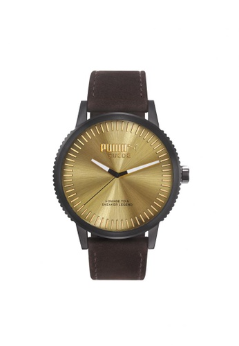 Puma brown Puma Time Suede - Brown Suede Strap - Black Case (PU104101006) PU440AC35GOISG_1