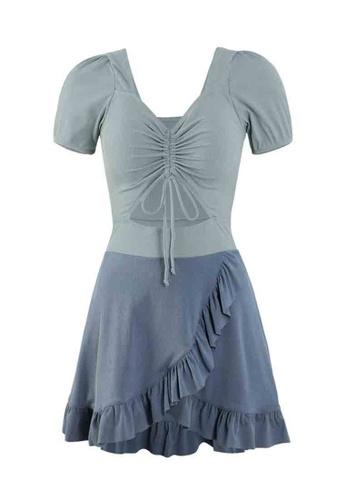 ZITIQUE blue Women's Puff Sleeve Ribbon One-piece Swimsuit - Blue 2F667US3A3DF26GS_1
