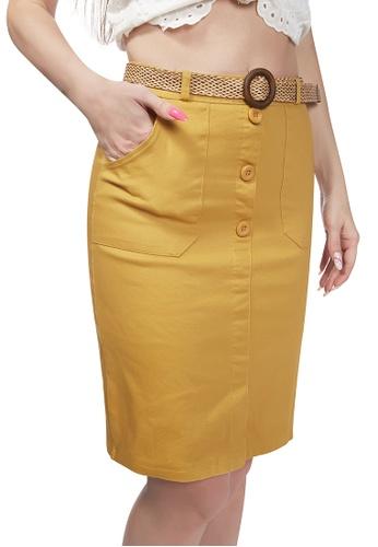 London Rag yellow Yellow Front Slit Pencil Skirt BCD2BAA9C4BF93GS_1