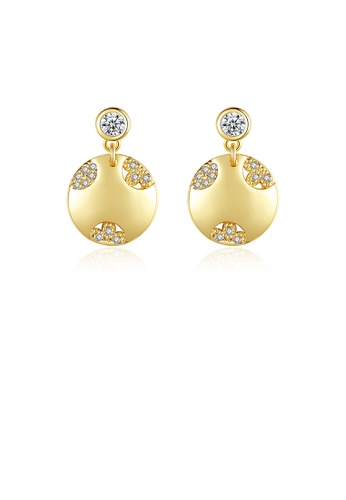 Glamorousky white Fashion Simple Plated Gold Geometric Round Earrings with Cubic Zirconia CE5F0ACA03026BGS_1