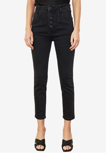 Trendyol black Front Button High Waist Jeans 4A9ABAA93DD8CFGS_1