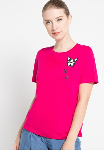 Bossini red S/S R/Nk Doggy Graphic Pocket Tee(Bl:24) BO894AA81SJQID_1