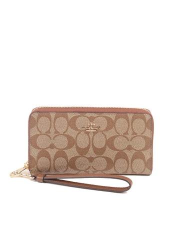 COACH brown Coach Signature Long C4452 Zip Around Wallet In Khaki Saddle 9A975AC54E134AGS_1