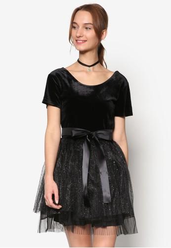 Danielle 絨布派對短袖連身裙, 服飾esprit 羽絨外套, 洋裝