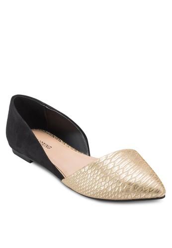 Abinesprit 品牌iel 蛇紋拼接側空平底鞋, 女鞋, 鞋