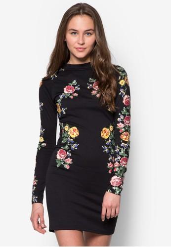 Kimmy 花卉長袖連身zalora是哪裡的牌子裙, 服飾, 服飾
