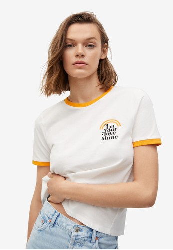 Mango orange Message Organic Cotton T-Shirt F09A5AA4810AFCGS_1