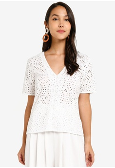0ae65b9fb Dorothy Perkins white Broderie Button Through Top 5A787AA0CE5C3DGS_1