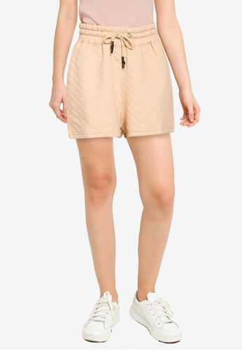 Public Desire 米褐色 X Carms Quilded Wide Fit 短褲 F3175AA30C0772GS_1