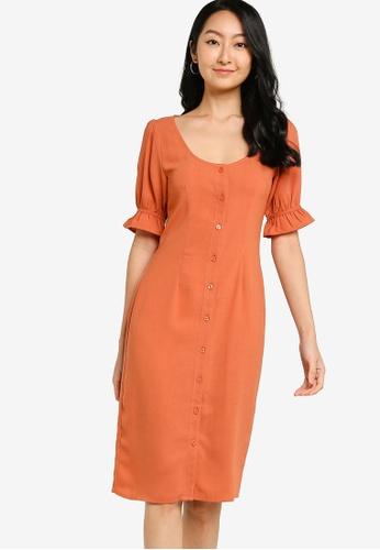 ZALORA BASICS 橘色 Puff Sleeve Button Down Dress 8EBABAACEAD84EGS_1