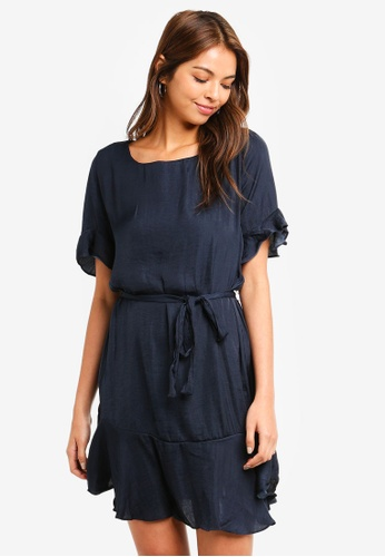 Cotton On navy Woven Satin Crew Tea Dress 143BCAA06D613BGS_1