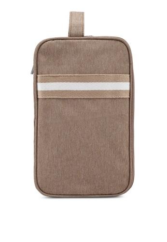 Bagstationz brown Strap Design Lightweight Water-Resistant Travel Toiletries Pouch 02794AC146179EGS_1