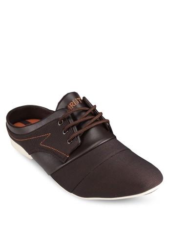 異材質三眼繫帶休閒鞋, 鞋, 懶人esprit台灣鞋