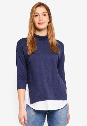ESPRIT navy 3/4 Sleeve T-Shirt 5928FAAE37E8E8GS_1