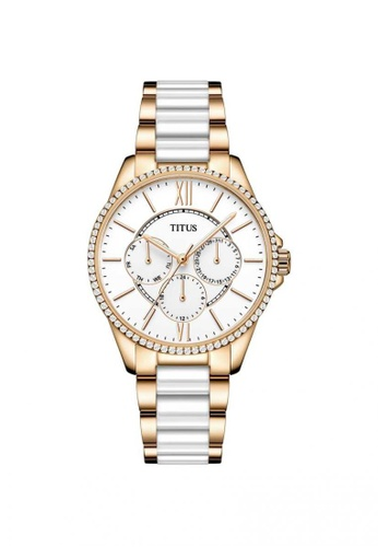 Solvil et Titus gold Fashionista Women's Multi-Function Quartz Watch in Silver White Dial and Two-Tone Stainless Steel Bracelet BADAAAC5BC80ACGS_1