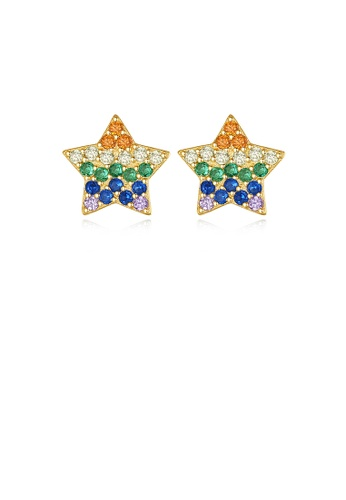 Glamorousky silver 925 Sterling Silver Plated Gold Simple Bright Star Stud Earrings with Colorful Cubic Zirconia 06DEBACB9A87A1GS_1
