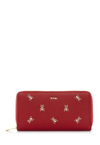 BONIA red Red The Nazca Zipper Wallet AF126AC2D6C2F0GS_1
