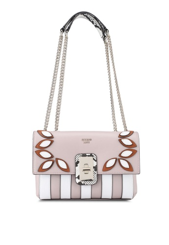 Guess white and pink Fruit Punch Convertible Cross Body Flap 77E3CAC501196BGS_1