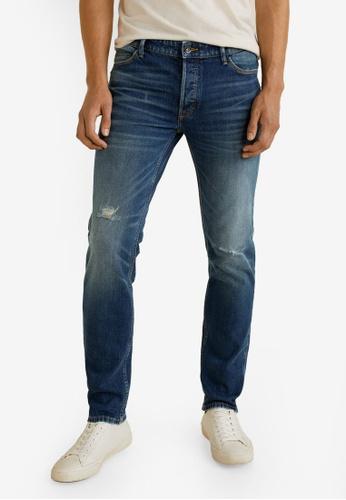 MANGO Man 藍色 Slim-Fit Vintage Wash Tim Jeans B6B65AAC8D6707GS_1