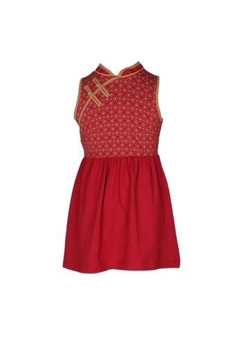 Mini Moley red Oriental Rings Print Cheongsam Inspired Girl's Dress 11100KA9C12A31GS_1