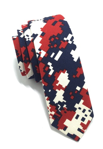 Splice Cufflinks Potpurri Series Red & Blue Pixel Design Cotton Tie SP744AC67QNCSG_1